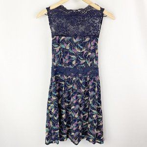 Free People Lace Dress Navy Blue Size Extra Small